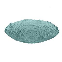 """Benzara 18.25"""" Teal Glass Plate, Teal"""