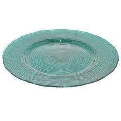 """Benzara 13"""" Teal Glass Plate, Teal"""