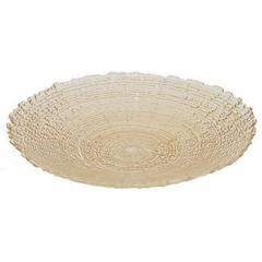 "Benzara 18.25"" Beige Glass Plate, Beige"