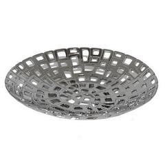 "Benzara 69563 12"" Silver Ceramic Plate, Silver"