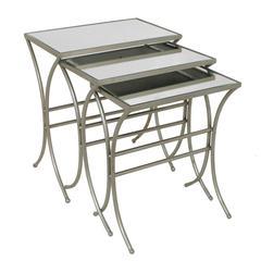 Benzara Modern Styled Set Of 3 Metal Mirror Table