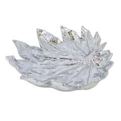 "Benzara 94870 11.5"" Silver Ceramic Plate, Silver"