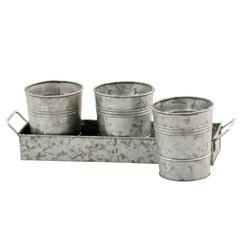 Galvanized Set of Three Planters With Tray, Gray
