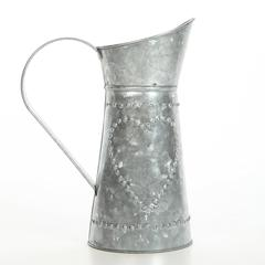 Benzara Decorative Galvanized Metal Pitcher, Gray