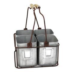Benzara Galvanized Metal Four Tin Organizer With Handles, Gray