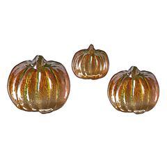 Jack's Pumpkin Glass Dishes, Orange, green, Set Of 3