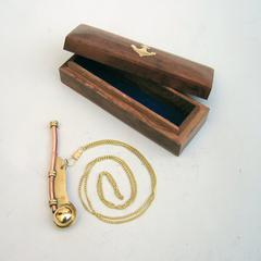 Benzara Brass / Copper Bosun Navy Call Whistle With Wood Box