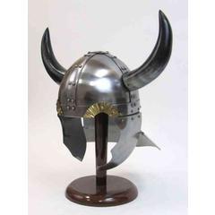 Benzara Armor Helmet - 18 Guage Steel Viking Helmet With Buffalo Horns