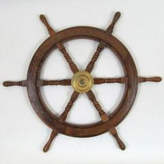 Ships Helm - Wooden Ship Wheel Helm Decor With Brass Center