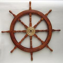 "Benzara 36"" Wooden Ship Wheel With Brass Hub And 8 Spokes"