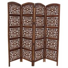 The Urban Port Handmade Foldable 4-Panel Wooden Partition Screen Room Divider, Brown
