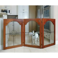 Majestic Universal Free Standing Pet Gate (Wire insert & Cherry Stain)