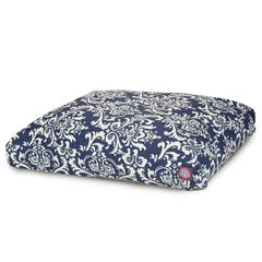 Majestic Navy Blue French Quarter Medium Rectangle Pet Bed
