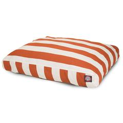 Burnt Orange Vertical Stripe Medium Rectangle Pet Bed