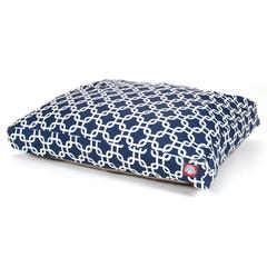 Navy Blue Links Medium Rectangle Pet Bed