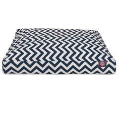 Navy Blue Chevron Medium Rectangle Pet Bed