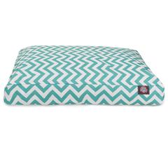 Teal Chevron Medium Rectangle Pet Bed