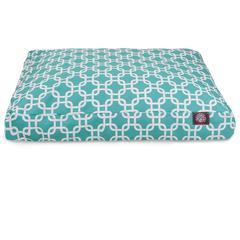 Teal Links Medium Rectangle Pet Bed