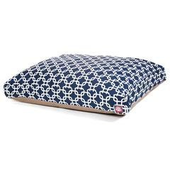 Navy Blue Links Large Rectangle Pet Bed