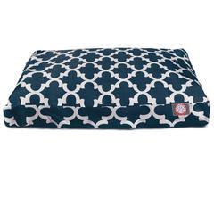 Navy Trellis Large Rectangle Pet Bed