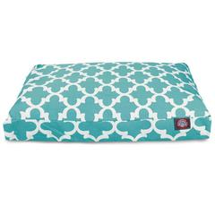 Majestic Teal Trellis Large Rectangle Pet Bed