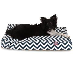 Majestic Navy Blue Chevron Large Rectangle Pet Bed