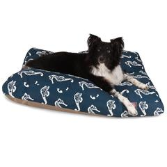 Navy Sea Horse Large Rectangle Pet Bed