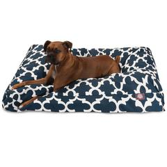 Navy Trellis Extra Large Rectangle Pet Bed