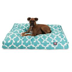 Majestic Teal Trellis Extra Large Rectangle Pet Bed