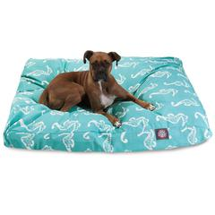 Teal Sea Horse Extra Large Rectangle Pet Bed