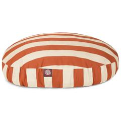 Burnt Orange Vertical Stripe Small Round Pet Bed