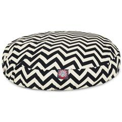 Black Chevron Small Round Pet Bed