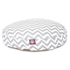 Gray Chevron Small Round Pet Bed