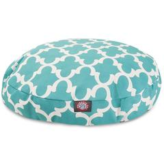 Teal Trellis Small Round Pet Bed