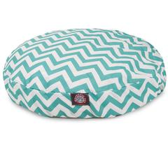 Teal Chevron Small Round Pet Bed
