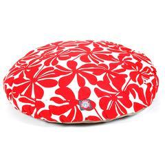 Red Plantation Medium Round Pet Bed