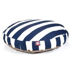 Navy Blue Vertical Stripe Medium Round Pet Bed
