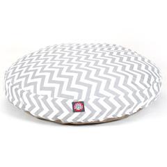Gray Chevron Medium Round Pet Bed