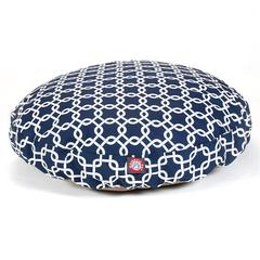 Navy Blue Links Medium Round Pet Bed