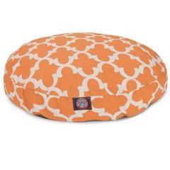 Peach Trellis Medium Round Pet Bed