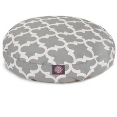 Gray Trellis Medium Round Pet Bed