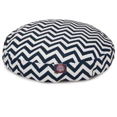 Navy Blue Chevron Medium Round Pet Bed