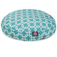 Majestic Teal Links Medium Round Pet Bed