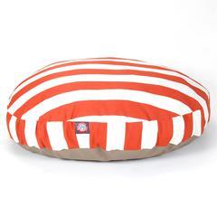 Majestic Burnt Orange Vertical Stripe Large Round Pet Bed