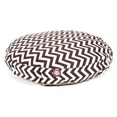 Chocolate Chevron Large Round Pet Bed