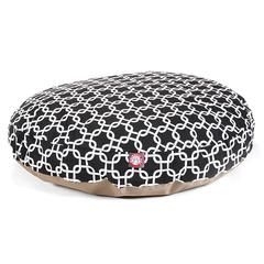 Black Links Large Round Pet Bed