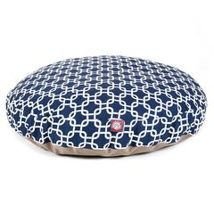 Majestic Navy Blue Links Large Round Pet Bed