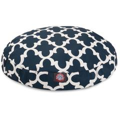Navy Trellis Large Round Pet Bed