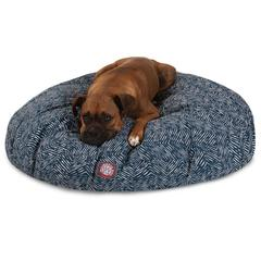 Navy Blue Navajo Large Round Pet Bed