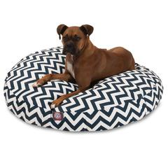 Majestic Navy Blue Chevron Large Round Pet Bed